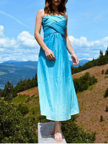 Strapless Bandeau Ombre Bandage Maxi Holiday Dress
