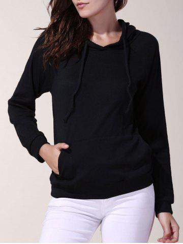 Casual Solid Color Hooded Long Sleeve Loose Hoodie For Women - Black - 2xl