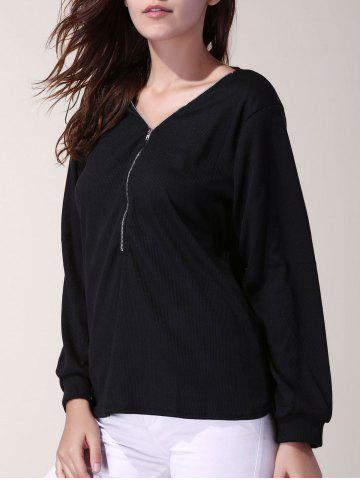 Chic Stylish V-Neck 3/4 Sleeve Zippered Solid Color Women's T-Shirt BLACK XL