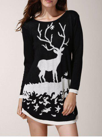 Store Fresh Style Scoop Neck Cartoon Deer Printed Christmas Sweater Dress For Women - ONE SIZE(FIT SIZE XS TO M) BLACK Mobile
