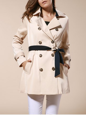 Affordable Fashionable Lapel Neck Double-Breasted Solid Color Slimming Women's Trench Coat APRICOT M