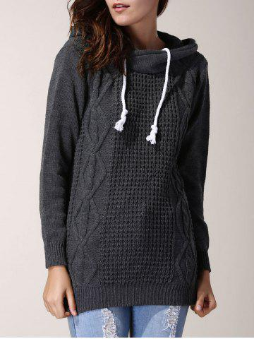 Fashion Chic Hooded Long Sleeve Pure Color Women's Sweater GRAY ONE SIZE(FIT SIZE XS TO M)