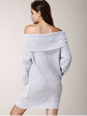 Chic Elegant Low-Cut Off-The-Shoulder Solid Color Long Sleeve Sweater Dress For Women - ONE SIZE(FIT SIZE XS TO M) LIGHT GRAY Mobile