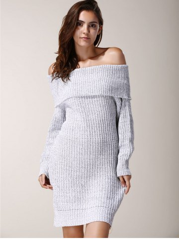 Shop Elegant Low-Cut Off-The-Shoulder Solid Color Long Sleeve Sweater Dress For Women - ONE SIZE(FIT SIZE XS TO M) LIGHT GRAY Mobile