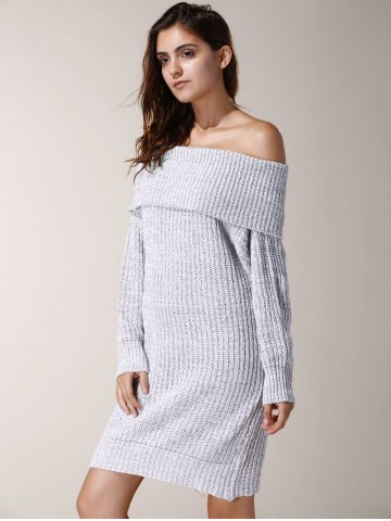 Trendy Elegant Low-Cut Off-The-Shoulder Solid Color Long Sleeve Sweater Dress For Women - ONE SIZE(FIT SIZE XS TO M) LIGHT GRAY Mobile