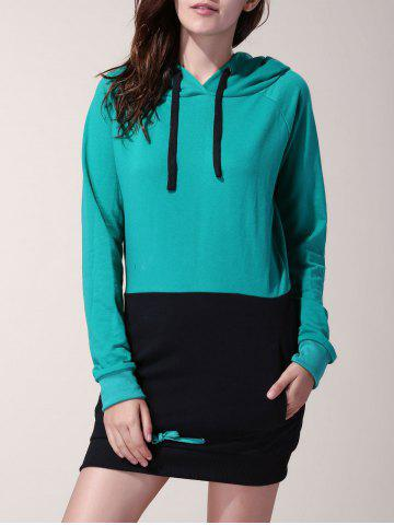 Shop Attractive Drawstring Hooded Hit Color Long Pullover Hoodie For Women BLACK/GREEN XL