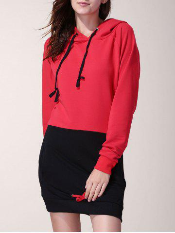 Attractive Drawstring Hooded Hit Color Long Pullover Hoodie For Women - Red With Black - Xl