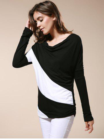 Online Color Matching Batwing Sleeve Cowl Neck Women's T-Shirt - M BLACK Mobile
