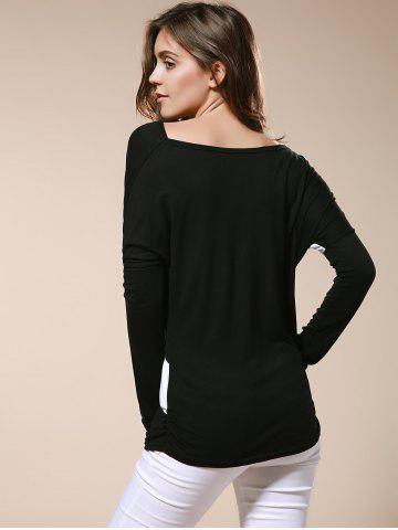 Buy Color Matching Batwing Sleeve Cowl Neck Women's T-Shirt - M BLACK Mobile