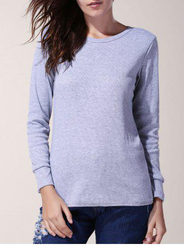 Buy Chic Jewel Neck Long Sleeve Solid Color Bodycon Pullover T-Shirt For Women