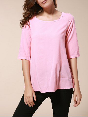 Buy Fashionable Round Neck 3/4 Sleeve Solid Color Loose-Fitting Blouse Women - Pink XL
