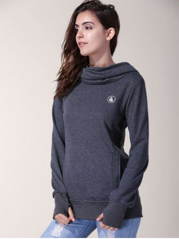 Shops Stylish Inner Floral Printed Hooded Sheathy Pullover Hoodie For Women - XL BLACK GREY Mobile