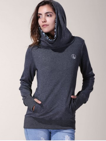 Outfit Stylish Inner Floral Printed Hooded Sheathy Pullover Hoodie For Women - XL BLACK GREY Mobile
