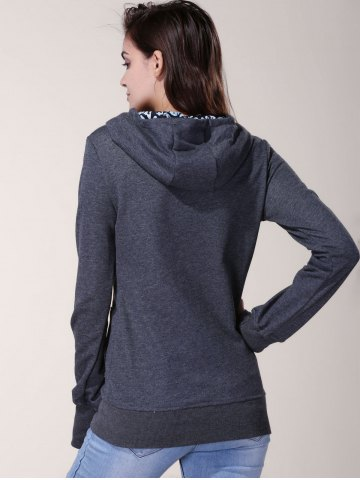 Chic Stylish Inner Floral Printed Hooded Sheathy Pullover Hoodie For Women - XL BLACK GREY Mobile