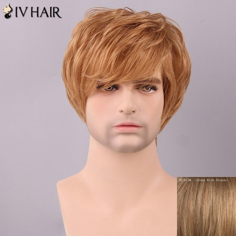 Outfit Siv Hair Men's Fluffy Straight Side Bang Human Hair Wig BROWN/BLONDE