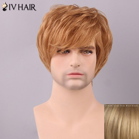Online Siv Hair Men's Fluffy Straight Side Bang Human Hair Wig