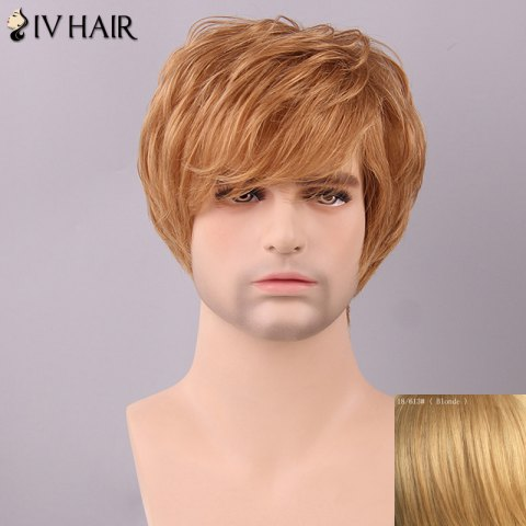 Latest Siv Hair Men's Fluffy Straight Side Bang Human Hair Wig