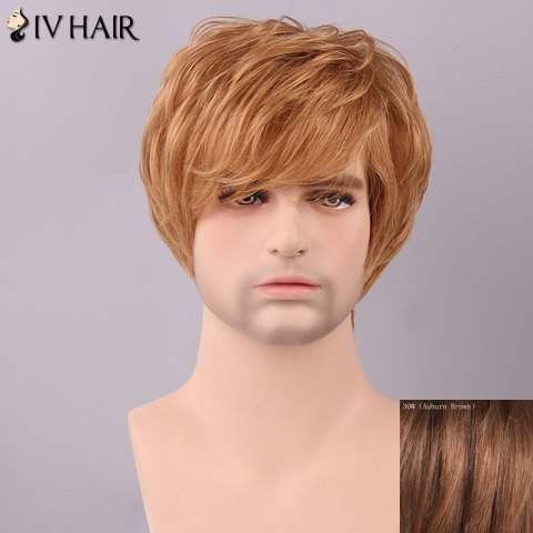 Outfits Siv Hair Men's Fluffy Straight Side Bang Human Hair Wig