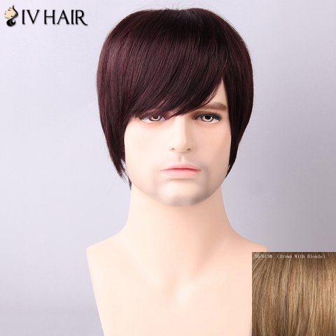 Chic Siv Hair Men's Straight Side Bang Human Hair Wig - BROWN WITH BLONDE  Mobile