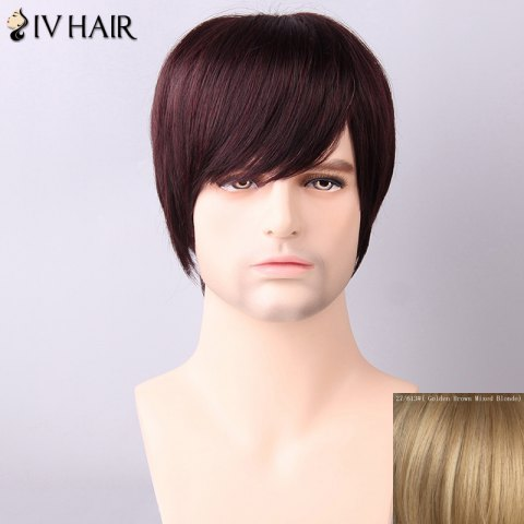 Discount Siv Hair Men's Straight Side Bang Human Hair Wig - GOLDEN BROWN WITH BLONDE  Mobile