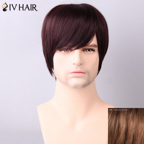 Unique Siv Hair Men's Straight Side Bang Human Hair Wig - AUBURN BROWN  Mobile