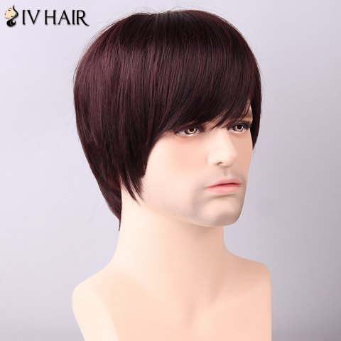 New Siv Hair Men's Straight Side Bang Human Hair Wig