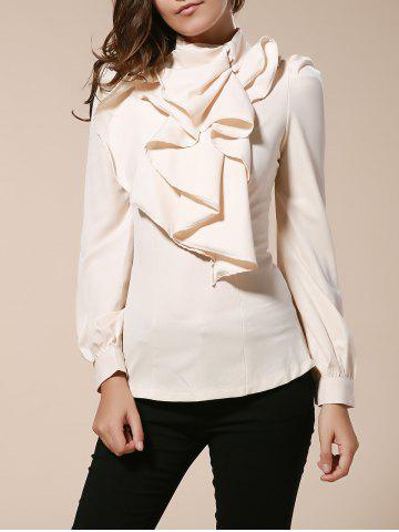 Discount Vintage Turtleneck Ruffles Solid Color Long Sleeves Women's Blouse AS THE PICTURE S