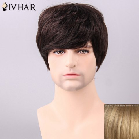 Best Siv Hair Men's Trendy Side Bang Human Hair Wig - GOLDEN BROWN WITH BLONDE  Mobile