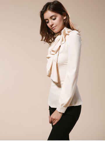 Trendy Vintage Turtleneck Ruffles Solid Color Long Sleeves Women's Blouse - L AS THE PICTURE Mobile