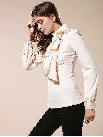 Cheap Vintage Turtleneck Ruffles Solid Color Long Sleeves Women's Blouse - L AS THE PICTURE Mobile