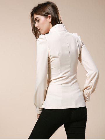 Sale Vintage Turtleneck Ruffles Solid Color Long Sleeves Women's Blouse - L AS THE PICTURE Mobile