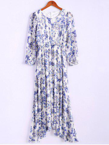 Outfits Bohemian Style Round Collar Tiny Floral Print Long Sleeve Chiffon Women's Spring Dress BLUE M