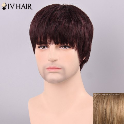 Discount Siv Hair Men's Straight Full Bang Human Hair Wig - BROWN WITH BLONDE  Mobile