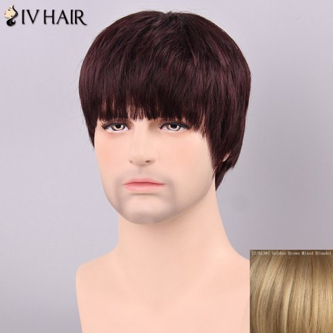 Shop Siv Hair Men's Straight Full Bang Human Hair Wig - GOLDEN BROWN WITH BLONDE  Mobile