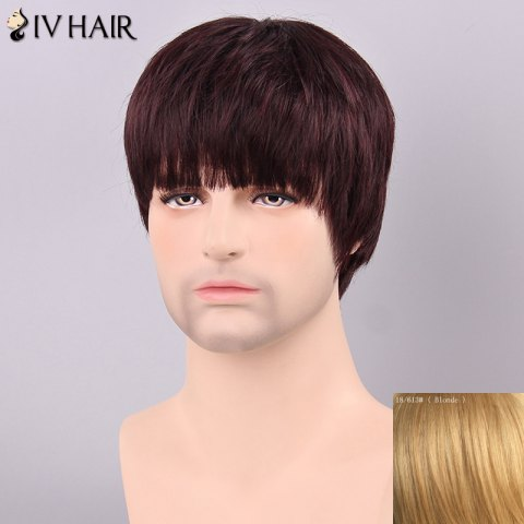 Hot Siv Hair Men's Straight Full Bang Human Hair Wig