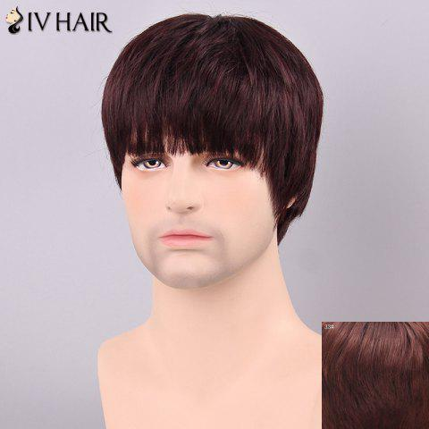 Fashion Siv Hair Men's Straight Full Bang Human Hair Wig - DARK AUBURN BROWN  Mobile