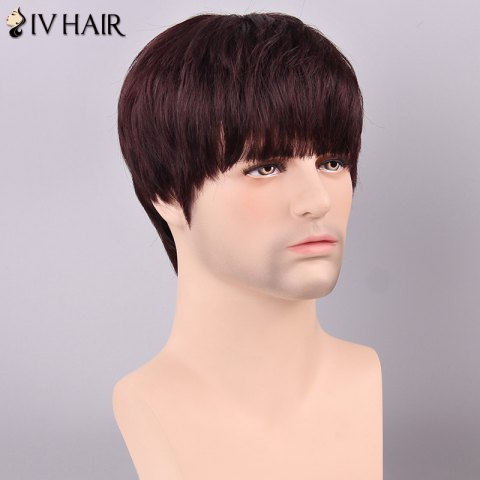 Store Siv Hair Men's Straight Full Bang Human Hair Wig - RED MIXED BLACK  Mobile