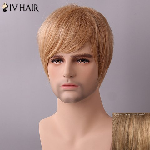 Hot Siv Hair Fluffy Straight Side Bang Human Hair Wig - BROWN WITH BLONDE  Mobile