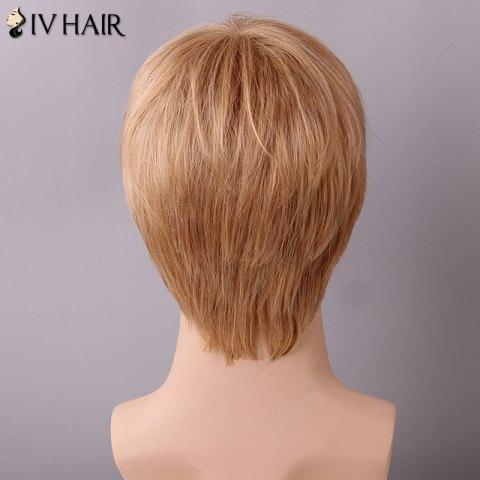 Latest Siv Hair Fluffy Straight Side Bang Human Hair Wig - GOLDEN BROWN WITH BLONDE  Mobile
