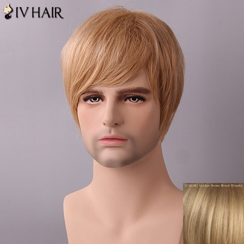 Best Siv Hair Fluffy Straight Side Bang Human Hair Wig - GOLDEN BROWN WITH BLONDE  Mobile