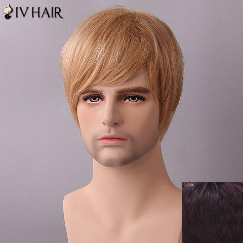 Discount Siv Hair Fluffy Straight Side Bang Human Hair Wig - RED MIXED BLACK  Mobile
