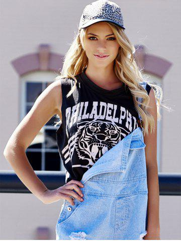 Sale Tiger Letter Print Cotton Cropped Tank Top - ONE SIZE DEEP GRAY Mobile