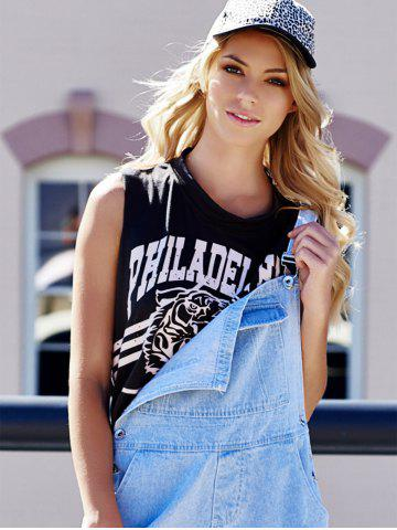 Chic Tiger Letter Print Cotton Cropped Tank Top - ONE SIZE DEEP GRAY Mobile