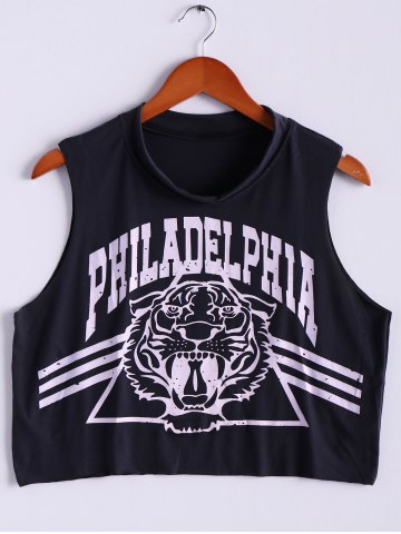 Discount Tiger Letter Print Cotton Cropped Tank Top - ONE SIZE DEEP GRAY Mobile