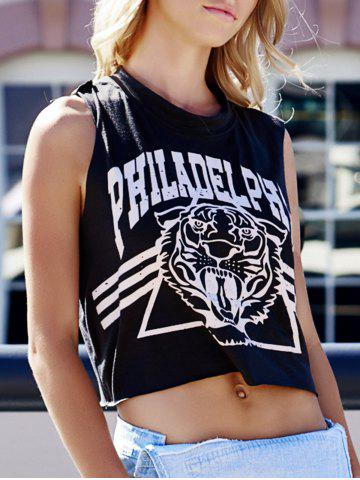 Buy Tiger Letter Print Cotton Cropped Tank Top DEEP GRAY ONE SIZE