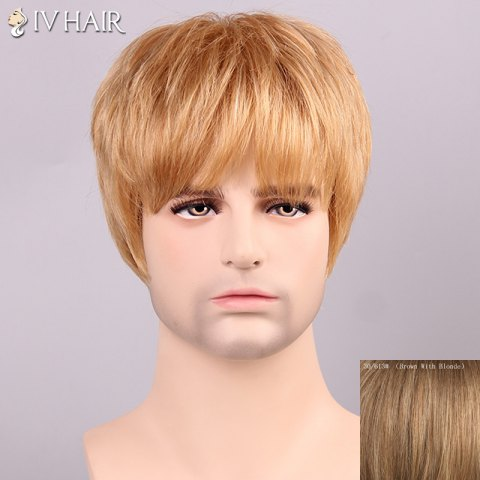 Fancy Siv Hair Shaggy Full Bang Human Hair Men's Wig - BROWN WITH BLONDE  Mobile