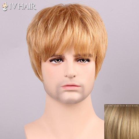Fashion Siv Hair Shaggy Full Bang Human Hair Men's Wig - GOLDEN BROWN WITH BLONDE  Mobile