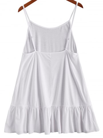 Discount Simple Spaghetti Strap Loose-Fitting Backless Solid Color Women's Dress - S WHITE Mobile