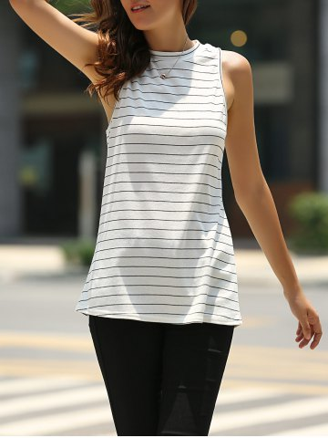 Shops Fashionable Round Neck Sleeveless Striped T-Shirt For Women