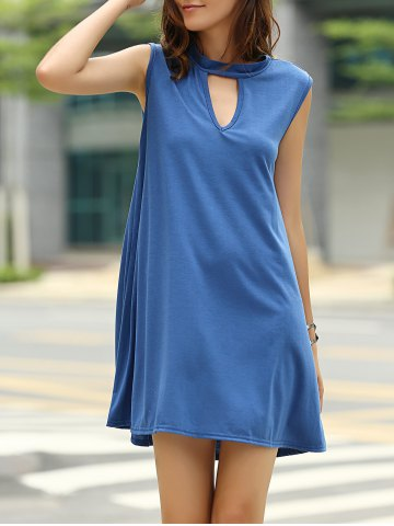 Chic Stylish Keyhole Neckline Sleeveless Solid Color Dress For Women